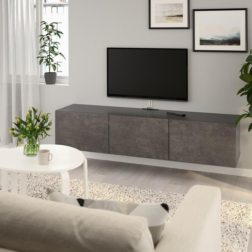 Besta Tv Unit With Doors Black Brown Kallviken Concrete Effect Ikea Tv Bench Wall Mounted Tv Unit Tv Unit