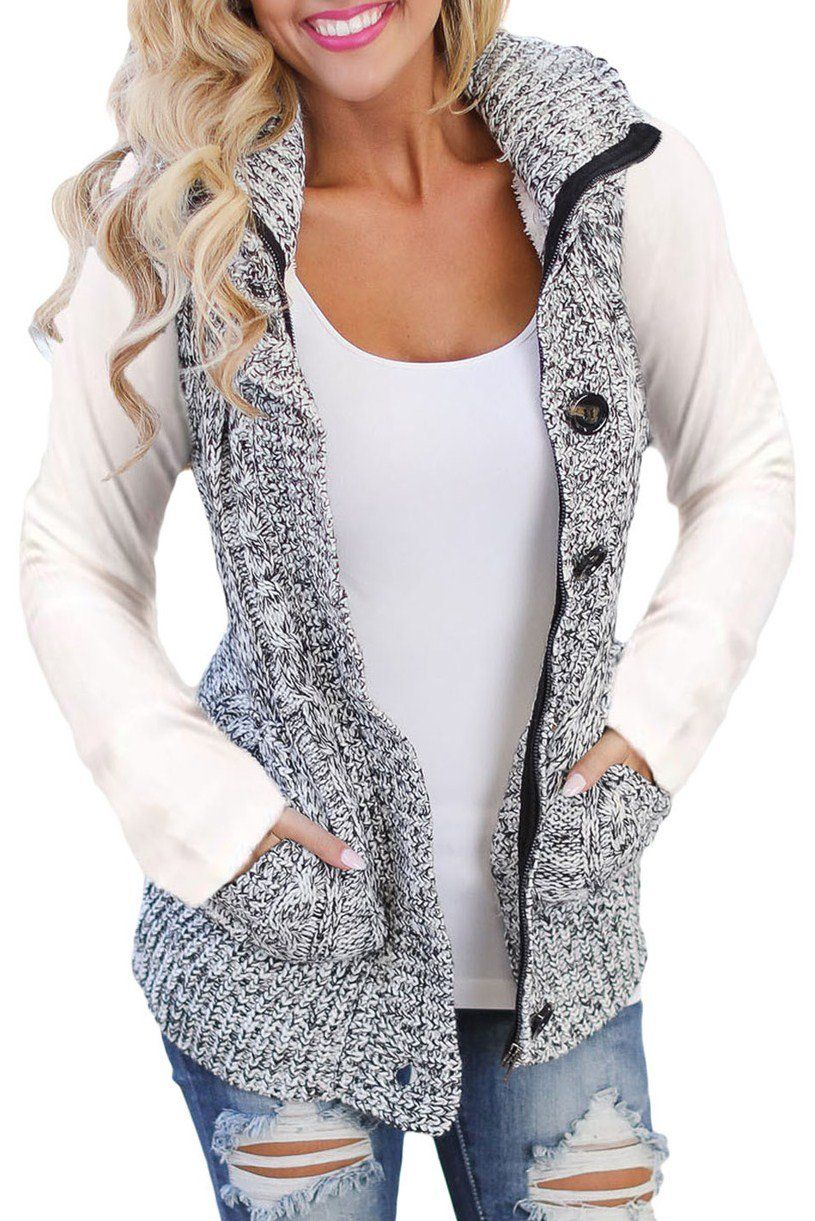 Women Heather Grey Cable Knit Hooded Sweater Vest | Sweater vests ...