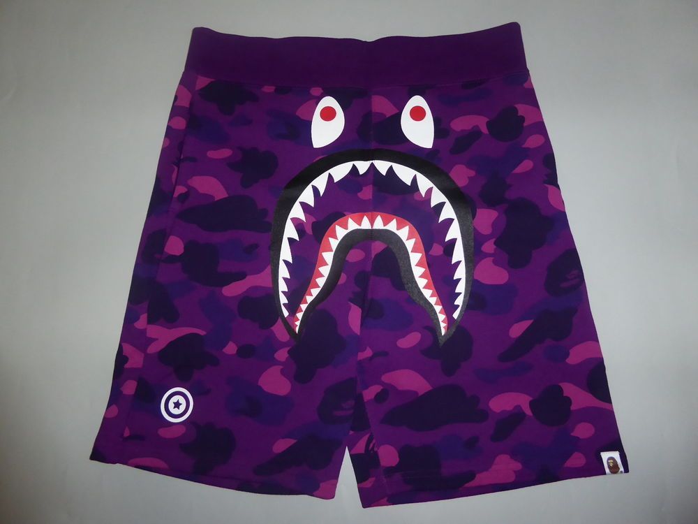 10752 bape color camo shark sweat shorts purple L in