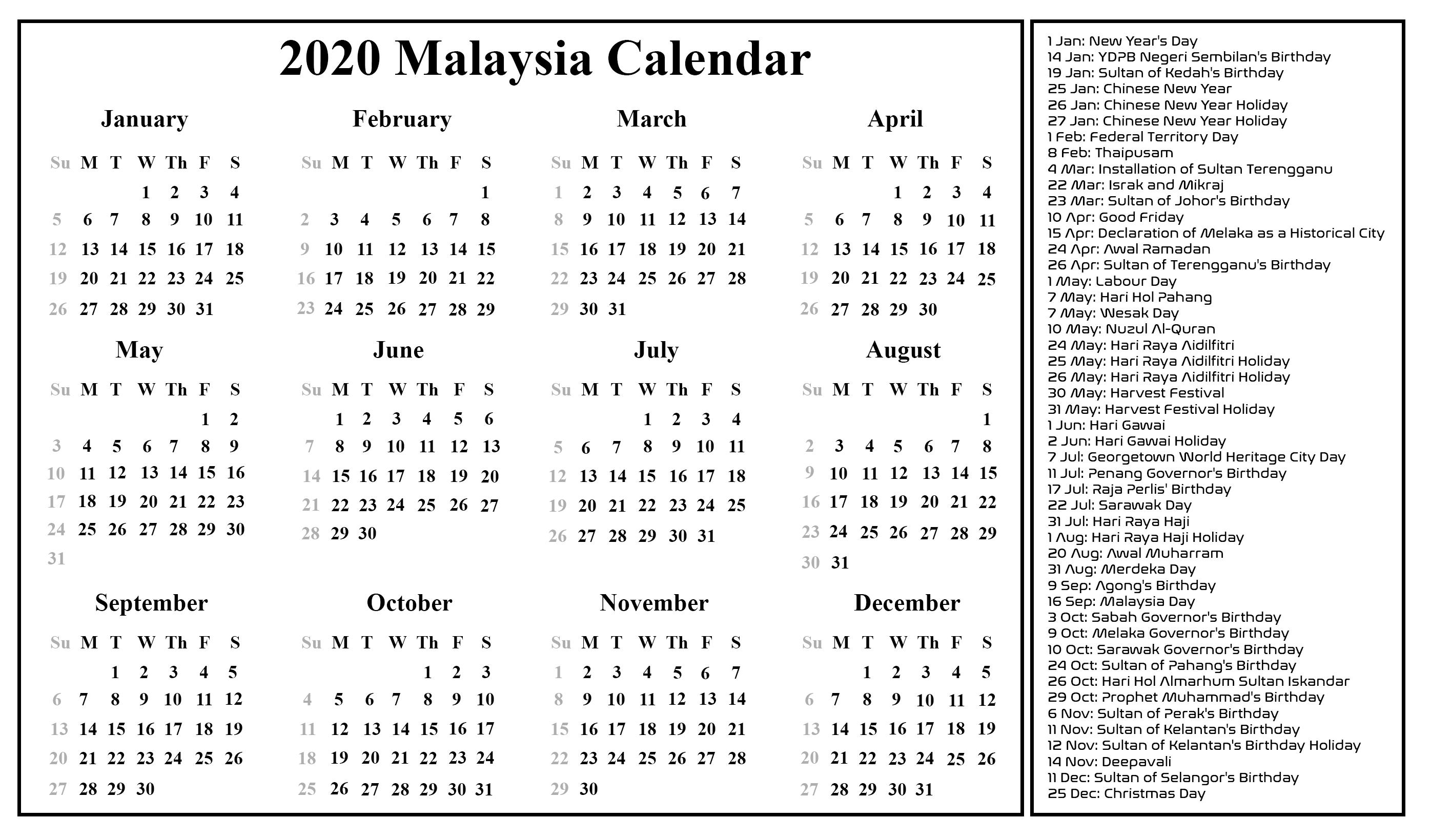 Malaysia Calendar 2020 Printable Calendar 2020