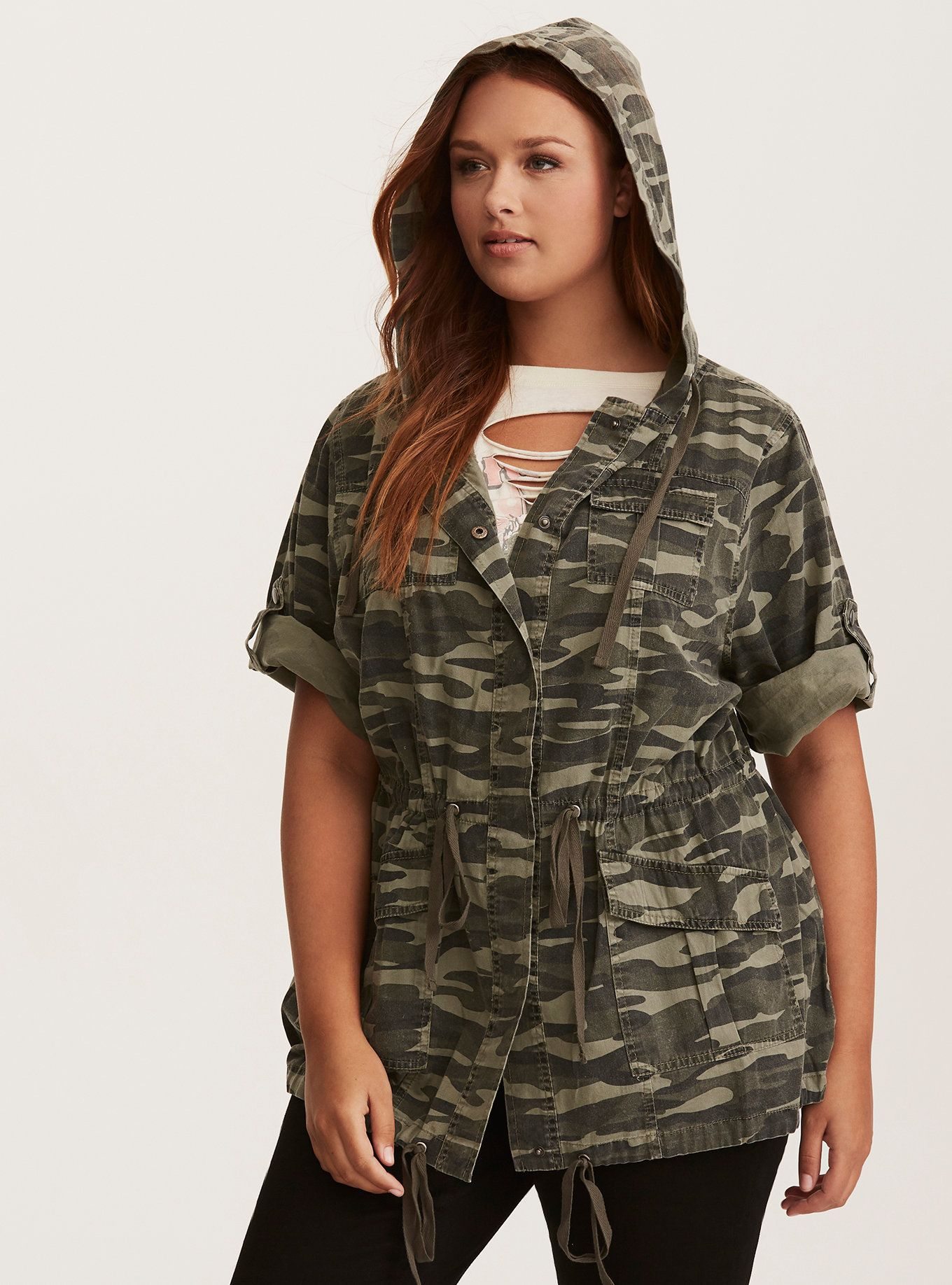 95a5b4cd68f987 Sport this military-inspired anorak anywhere and everywhere (that's an  order). Function meets fashion on the green camo print style, with a button  front, ...