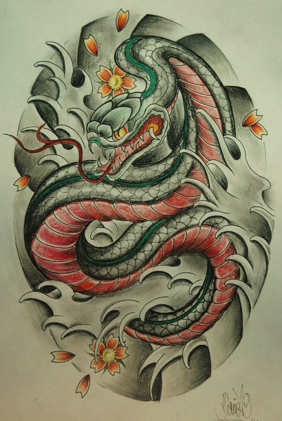 neo snake sketch Google Search Japanese tattoo