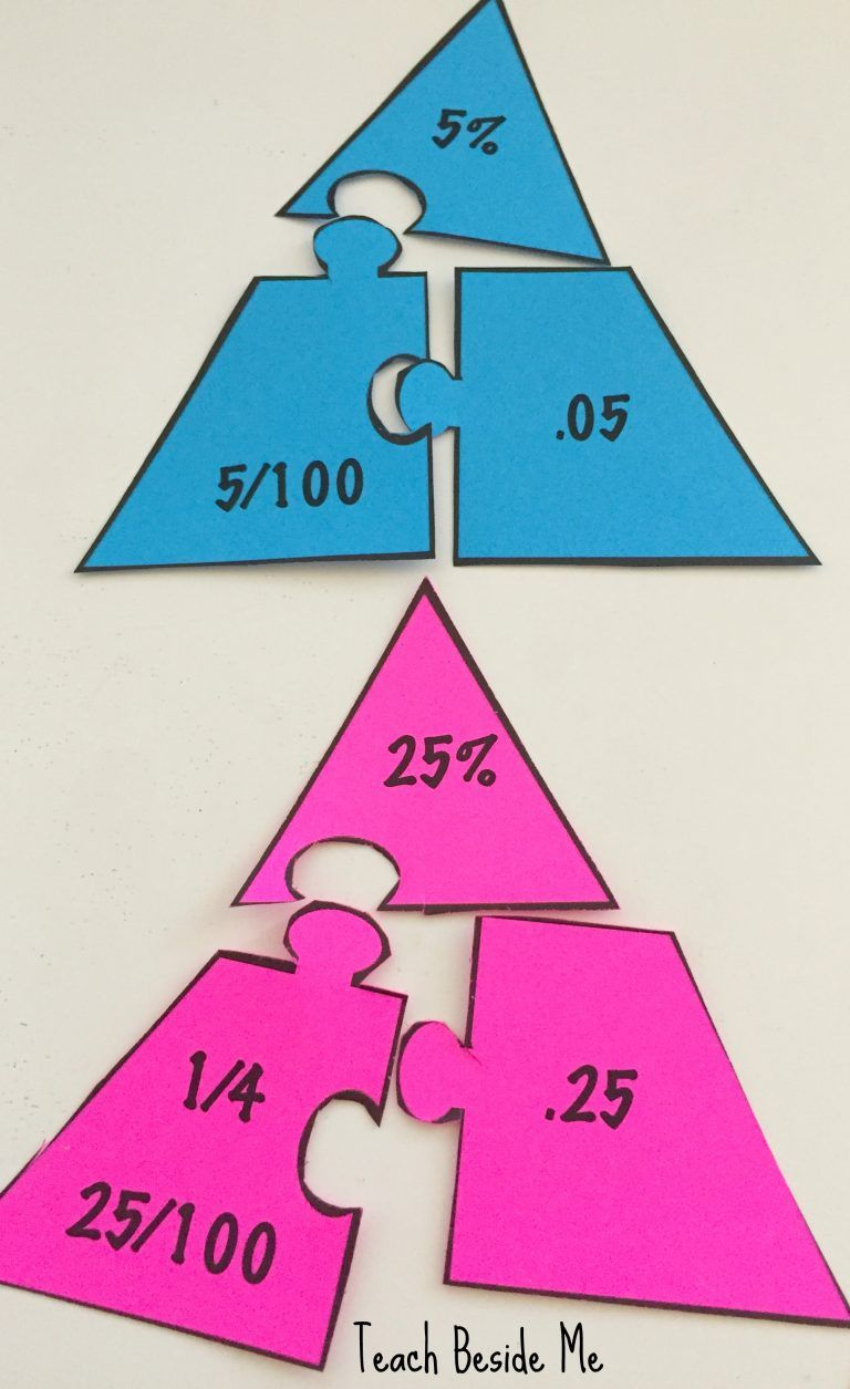 Fraction - Percentage - Decimal Math Puzzles | Math, Math education ...