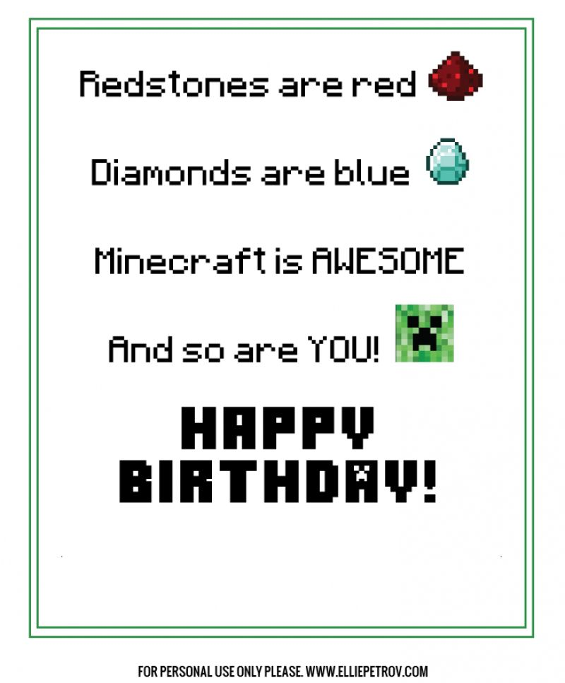 Minecraft Birthday Card Gangcraft Minecraft Birthday Ecard Minecraft Birthday Card Birthday Cards For Boys Birthday Card Printable