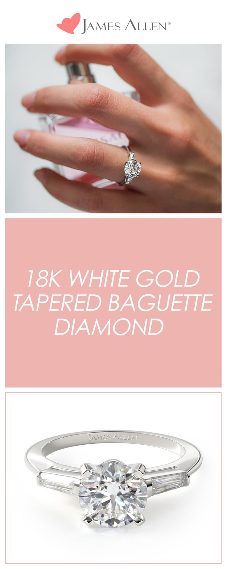 This classic 18K White Gold Tapered Baguette Diamond Engagement Ring ...
