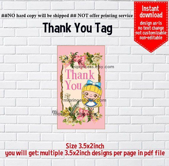 Instant Download Alice in wonderland 750 thank you gift - format for invitation