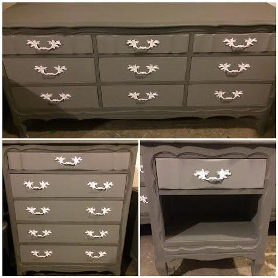 Best 4 Piece Bedroom Set 2 Dressers 2 Side Tables Gray And 400 x 300