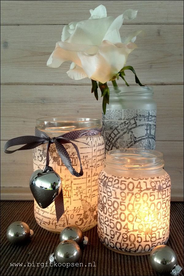 tissue paper and gel medium to make these from recycled jars -- I think they are really pretty