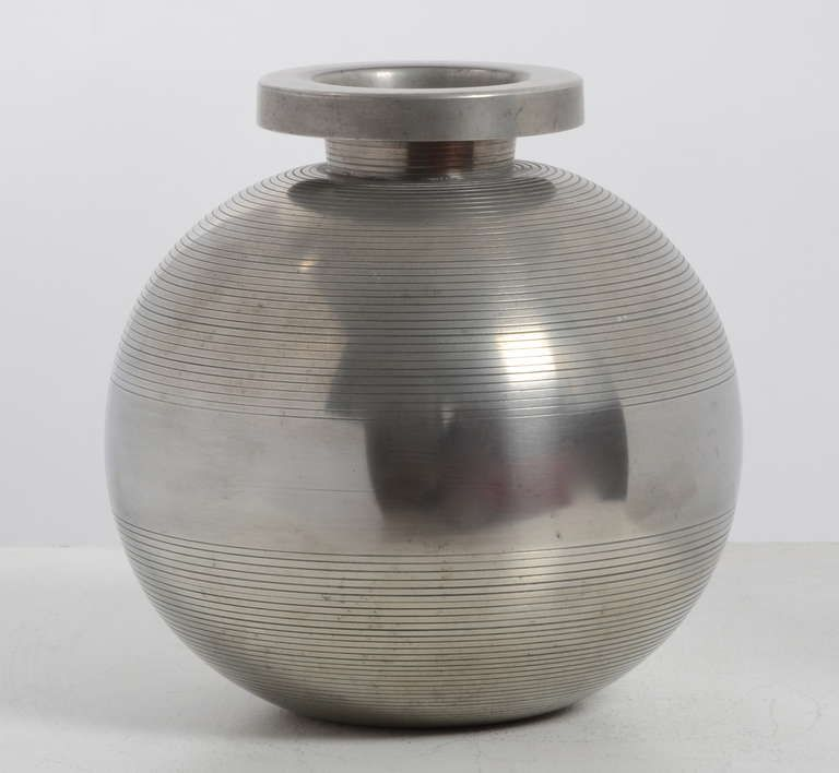 Sylvia Stave Vase Pewter Cg Hallberg 1934 Sweden Objects