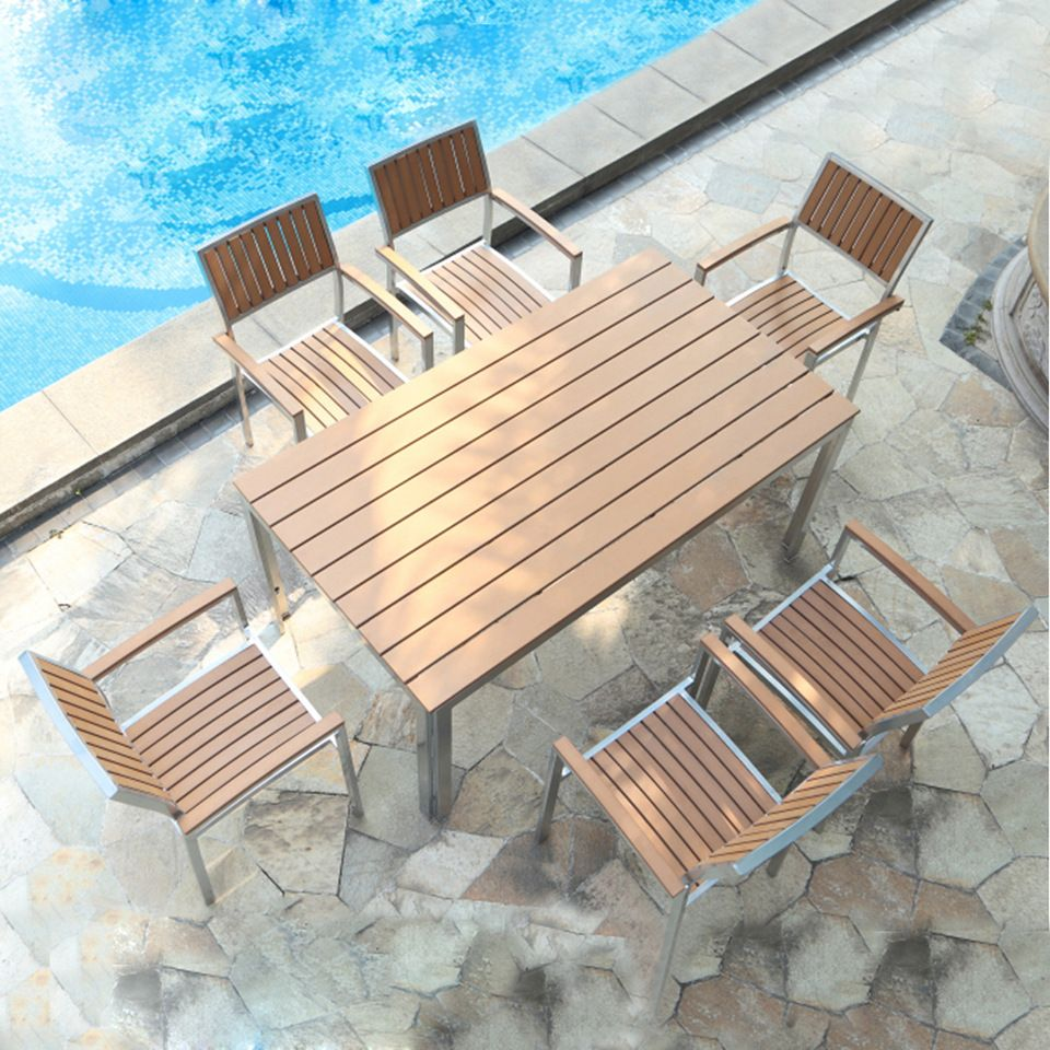 Modern Outdoor Solid Teak Wood Garden Dining Table And 6 Seating