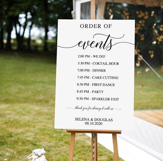 Wedding Order Of Events Sign Printable Timeline Large Signage Diy Custom Service