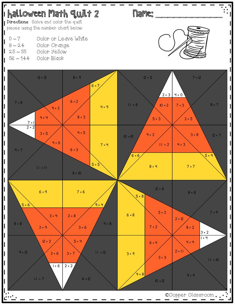 Halloween Basic Multiplication Quilts Halloween Math Math Multiplication Facts [ 1056 x 816 Pixel ]