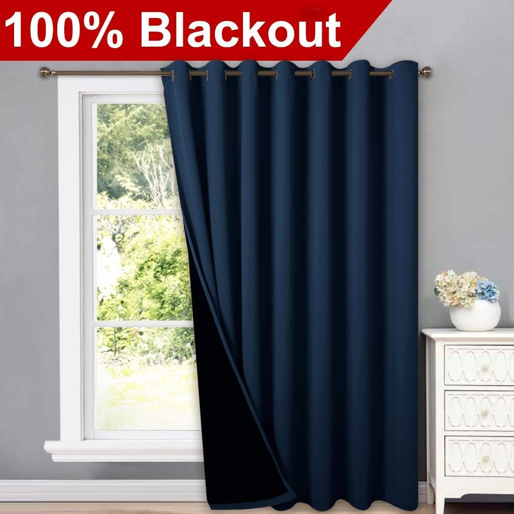 Amazon Com Nicetown Thermal Insulated 100 Blackout Drape Noise Reducing Performance Slider Curtain Panel With Curtains Sliding Door Curtains Slider Curtains