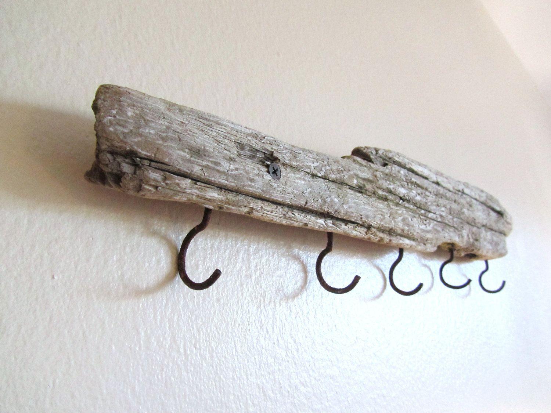 23 inch Driftwood Coat Rack Five Hooks