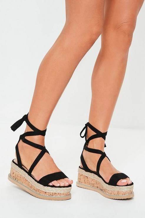 db81862914a Missguided - Black Faux Suede Lace Up Flatform Sandals in 2019 ...