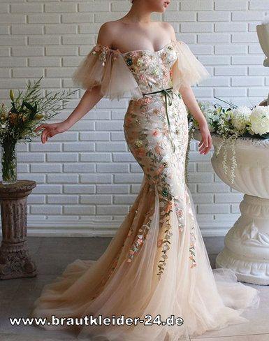 brautkleider  schulterfreies meerjungfrau brautkleid lang in elfenbein beige mit stickereien