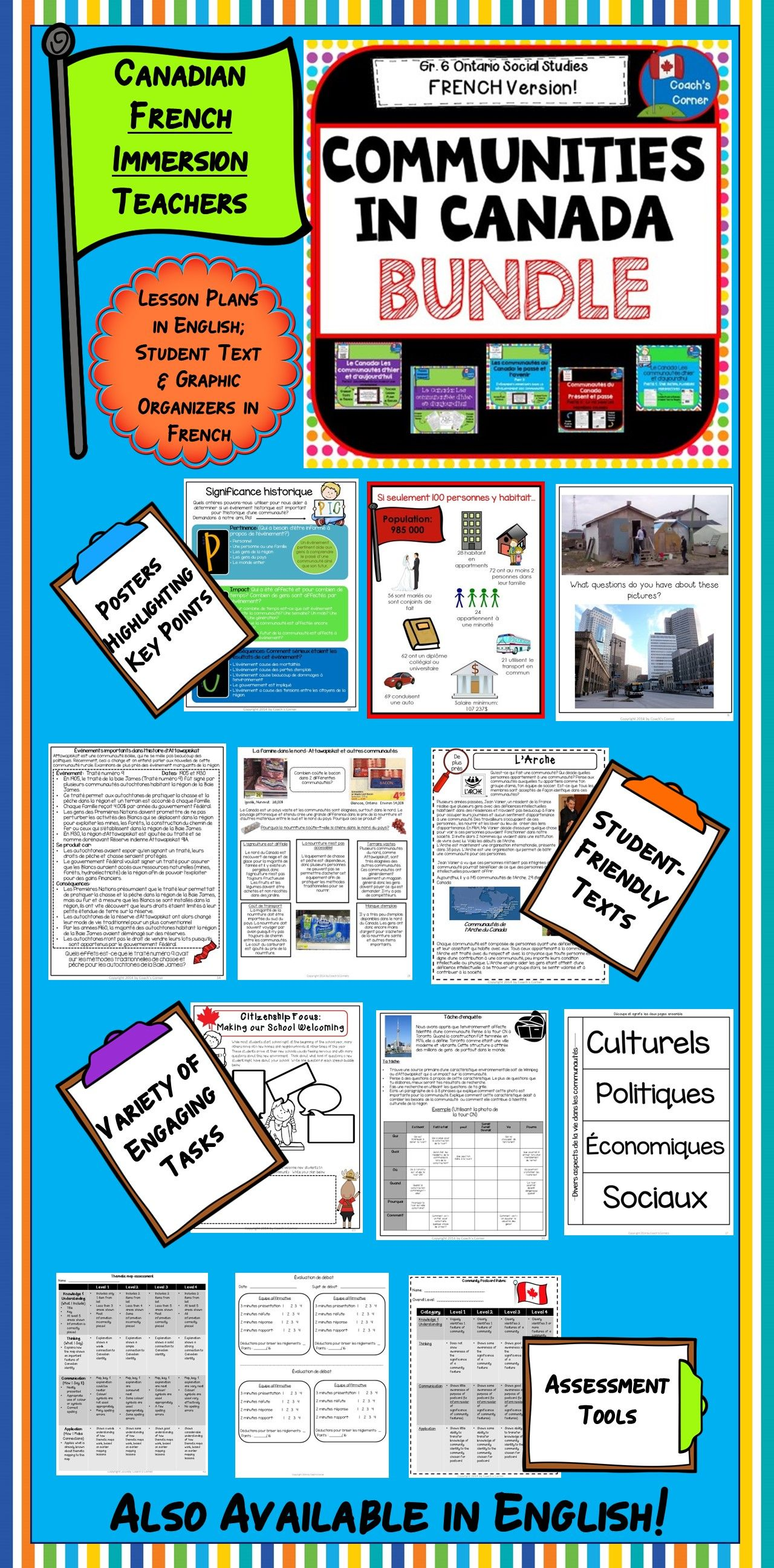 ontario grade 6 social studies  french communities in canada bundle