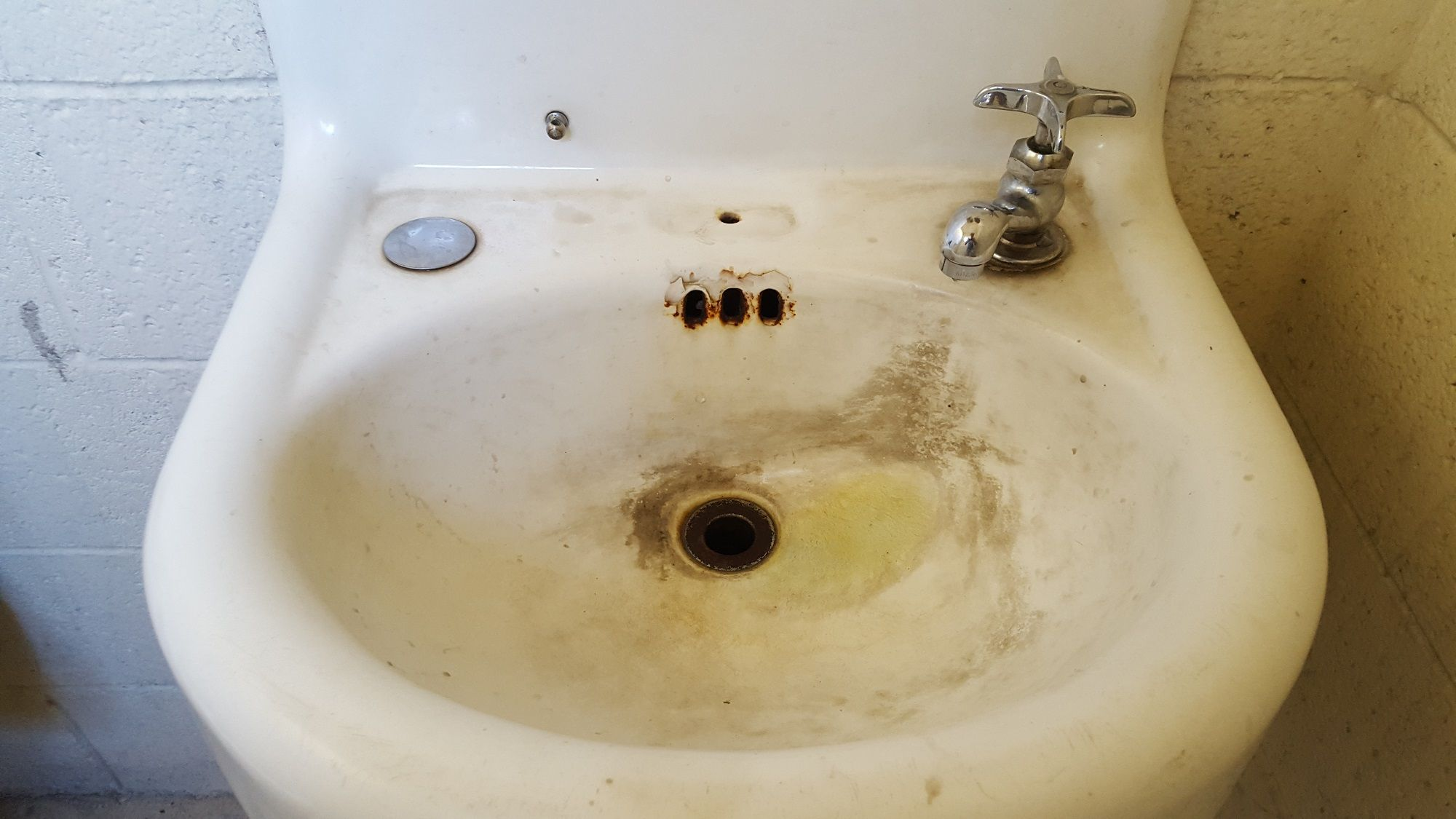 50 Year Of Buildup Grime On Bathroom Sink Mechanics Shop We Were