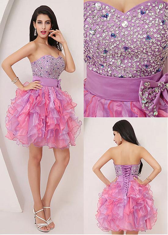 comprar Atractivo Organza Cuello Corto Corto Vestido de Baile ...