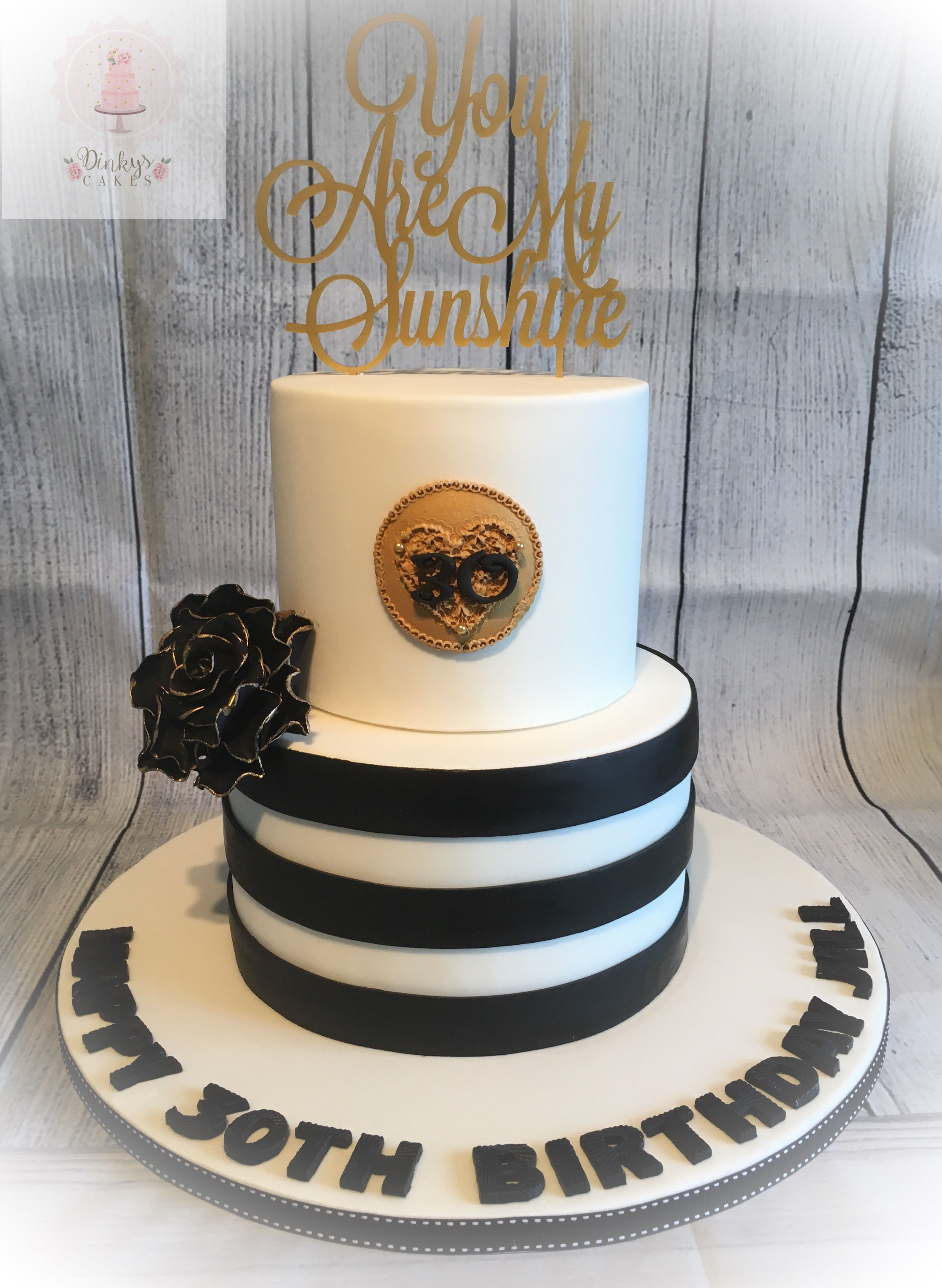 Terrific Black White And Gold Cake For A Surprise 30Th Birthday Personalised Birthday Cards Akebfashionlily Jamesorg