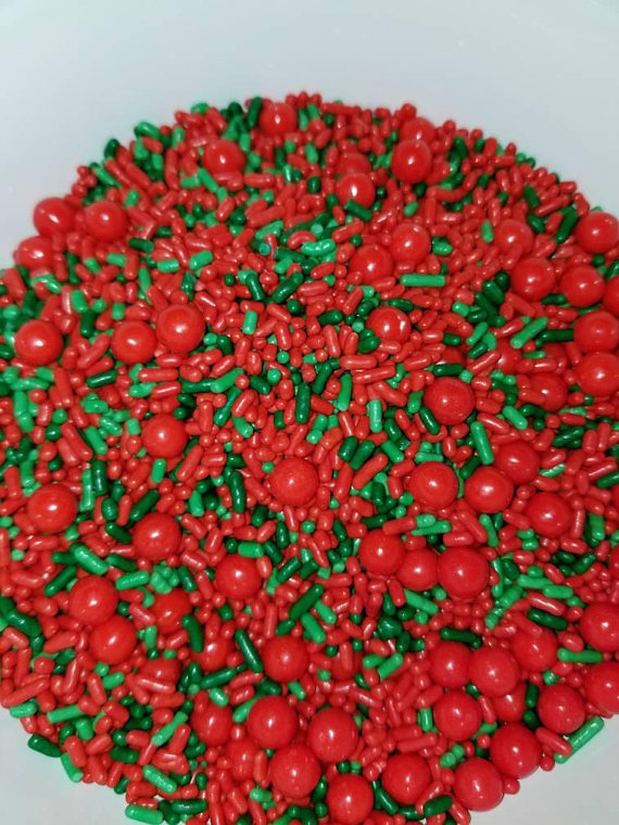 Holly Berry Mix Sprinkles Decorations Cupcakes Cookies Christmas
