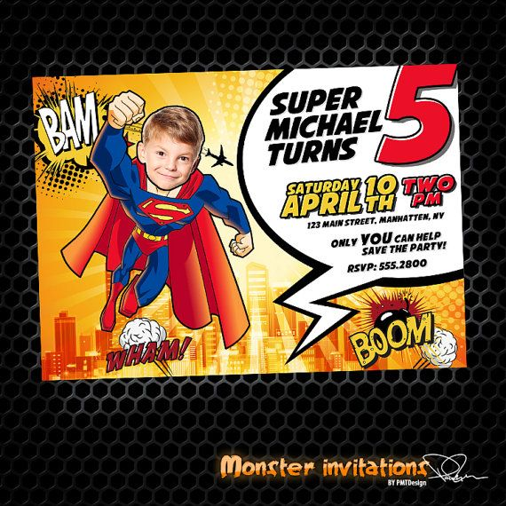 superman printable birthday invitation by monsterinvitations 10 00