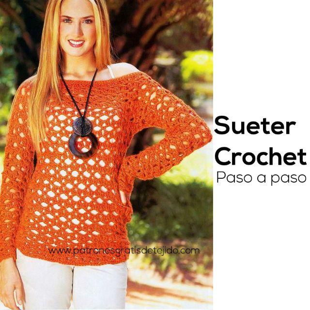 Suéter Calado C rochet / Paso a paso | Crochet y Dos agujas ...