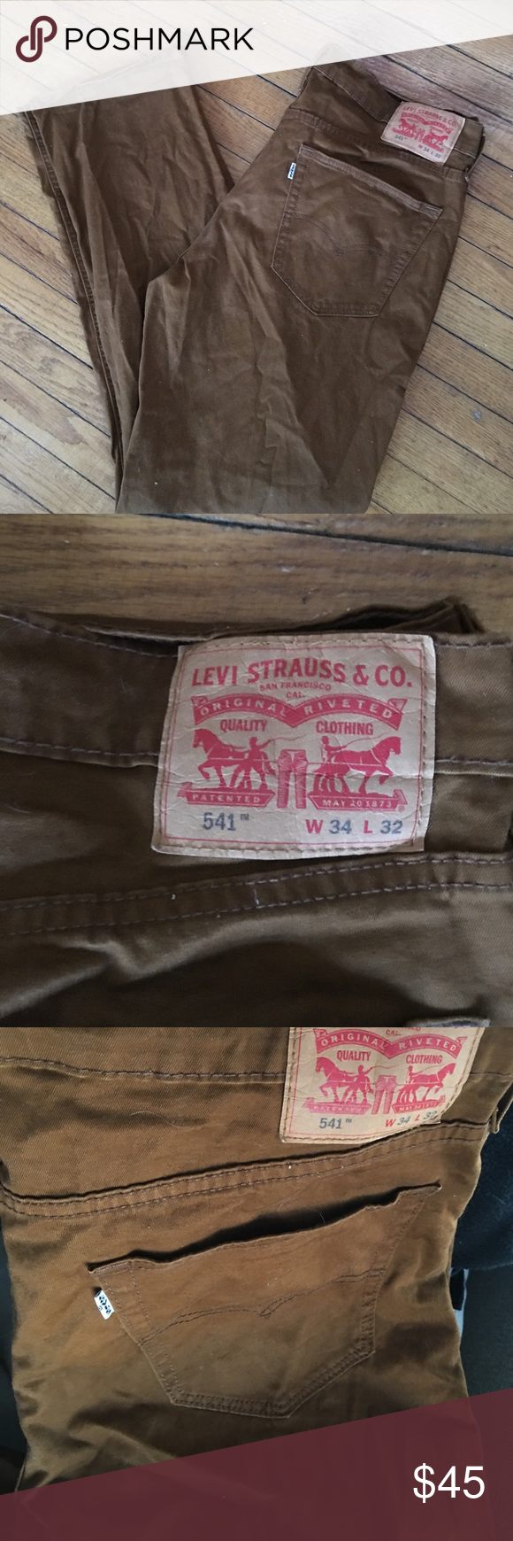 Rust brown Levi's 🍂 Nice rust color jeans . Worn once . Straight leg. 34/32 Levi's Jeans