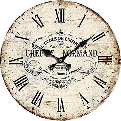 """Yung Jo 10"""" Vintage Rustic Shabby Chic Style Roman Numeral Design Wooden Round Decorative Wall Clock (Normand)"""
