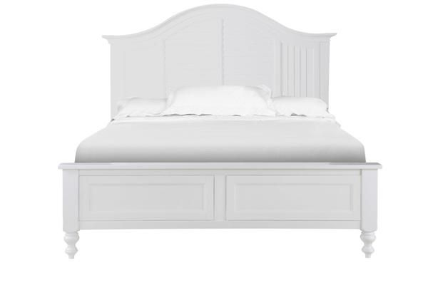 Cape Maye Cottage Pristine White Wood Queen Panel Bed Curved Headboard