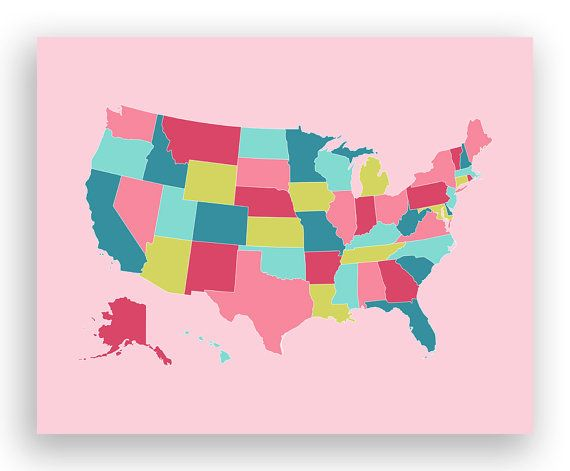 Pretty US map...matched Pottery Barn girls room colors ...