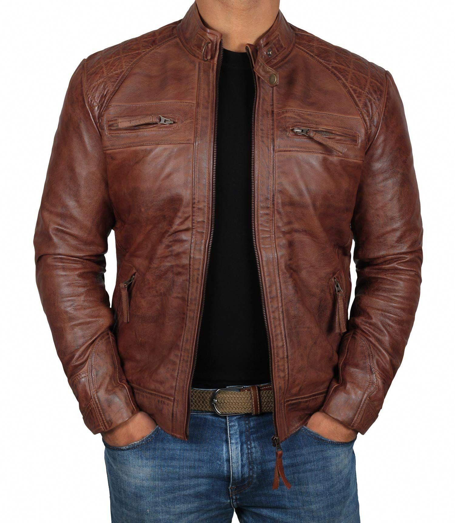 LeatherJacketsForMenorange Leather jacket men, Brown