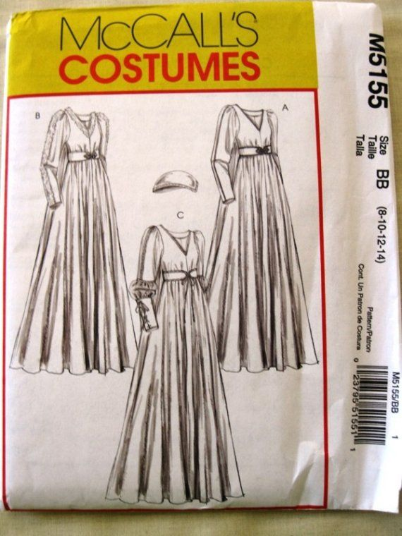 Womens Medieval Gown Costume Pattern - McCalls M5155 Sizes 8-14 ...