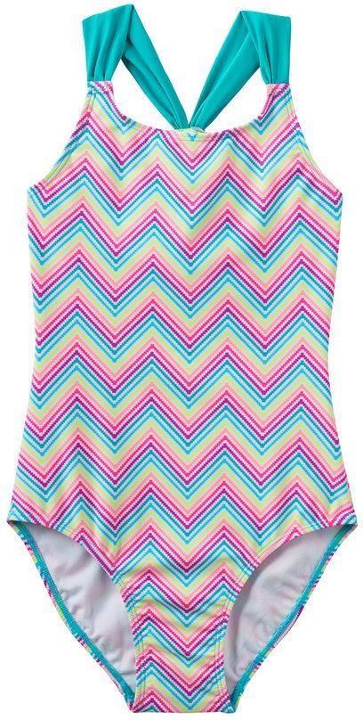 fcb5db12eb SO Girls 4-16 SO® Rainbow Chevron Pattern Racerback One-Piece Swimsuit