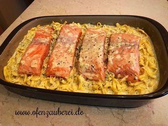 Lachs-Tagliatelle mit Sahnesauce in der Ofenhexe von Pampered Chef