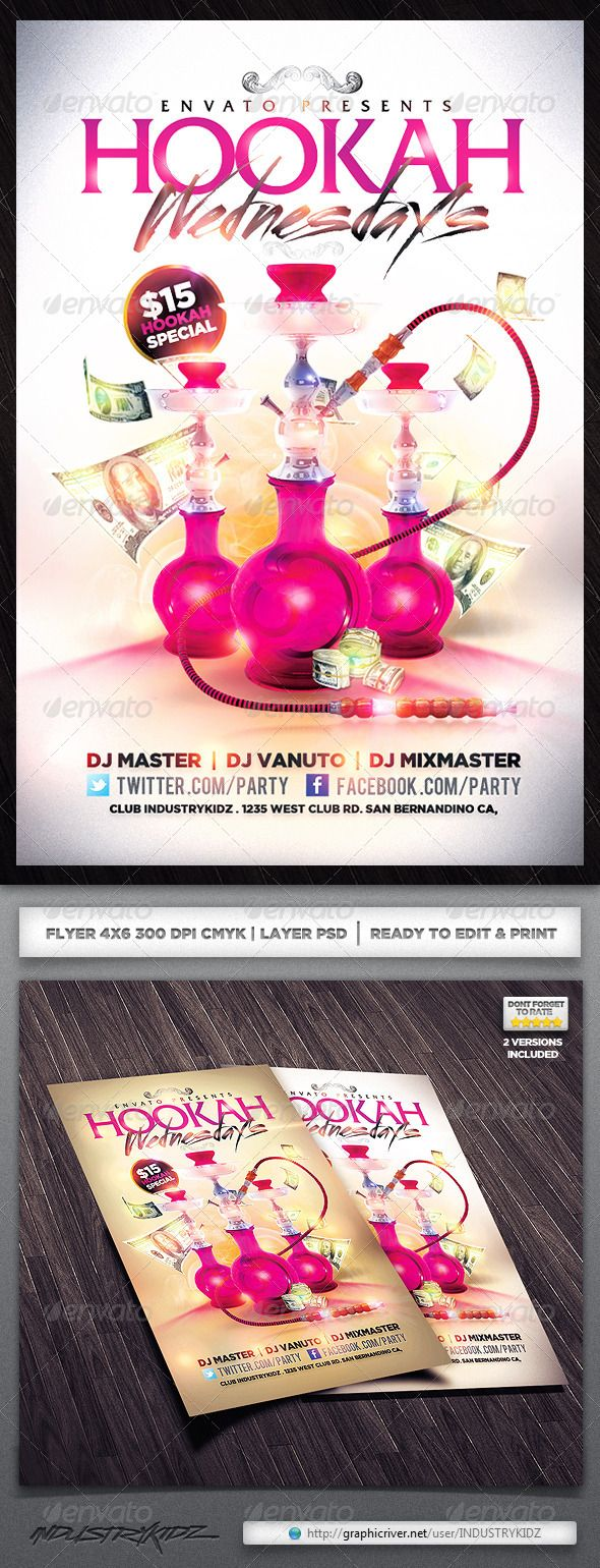 Hookah Lounge Flyer  Party Flyer Flyer Template And Food Graphic