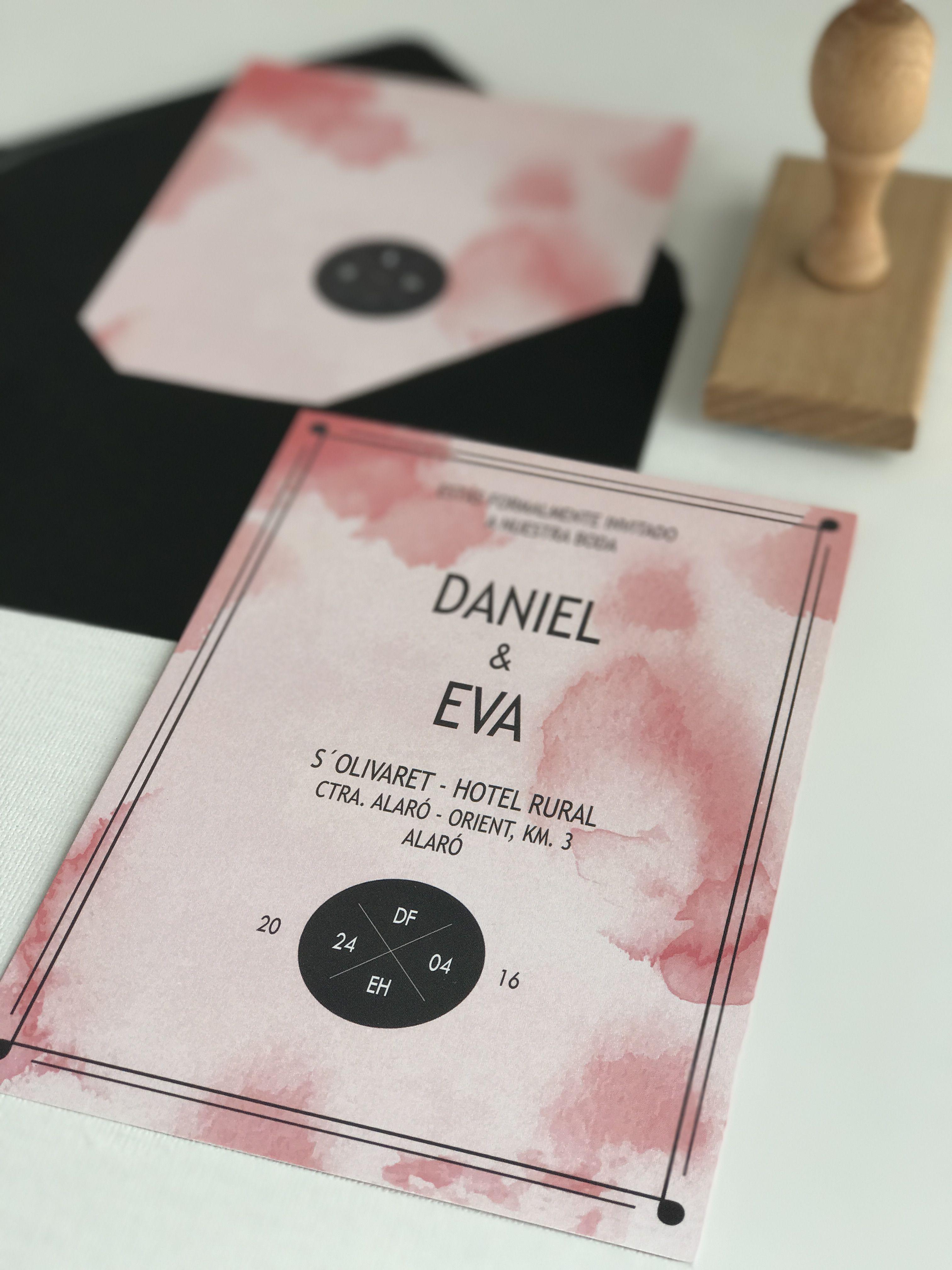 Invitación de boda colección Acuarela modelo Pink