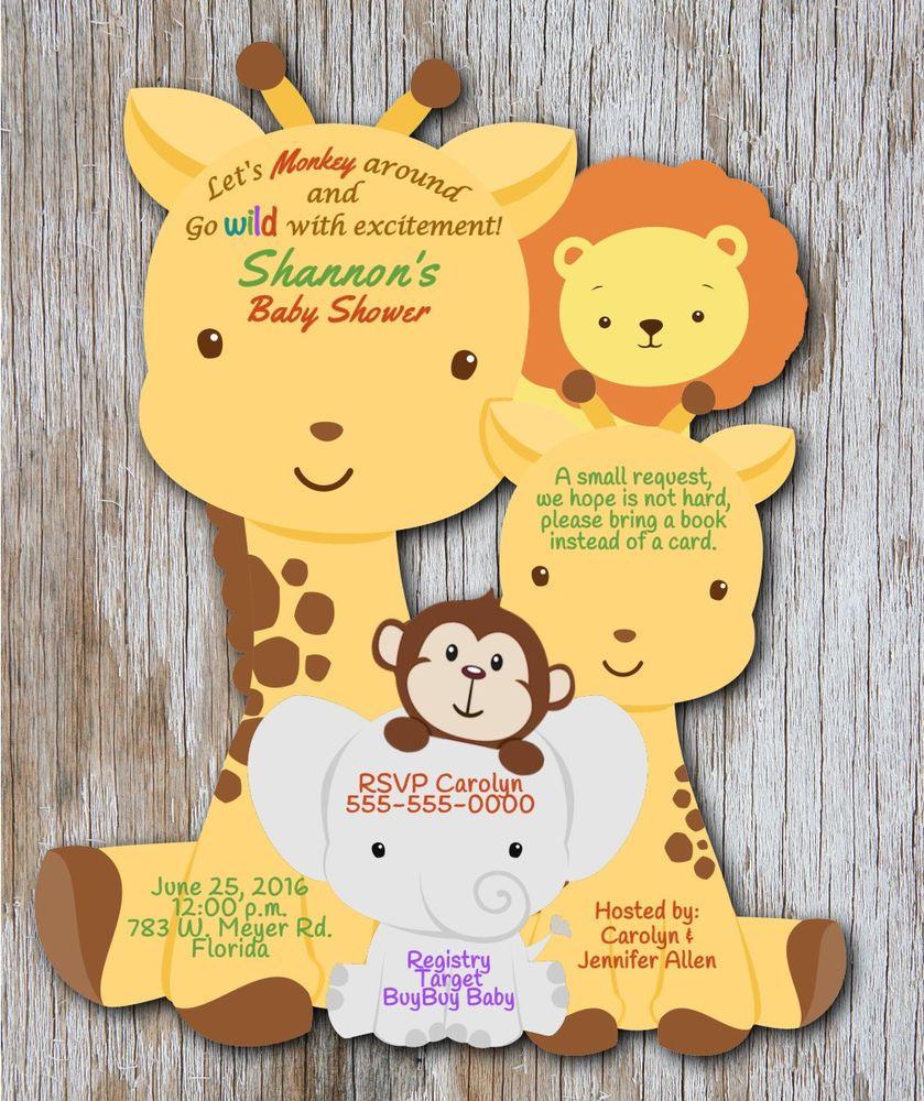 Safari Baby Shower Invitations, Jungle CUSTOM Birthday Invitation ...