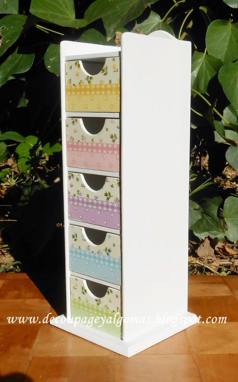Peque as cajoneras decoradas con decoupage miden 24 cm de - Cajoneras decoradas ...