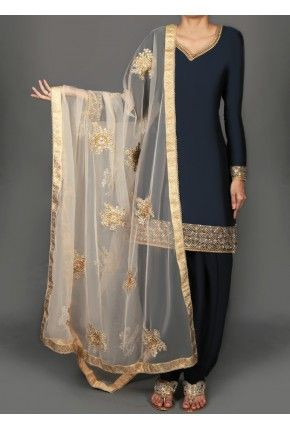 5121ce8805 Navy Blue and Gold Embroidered Punjabi Suit | middle eastern love in ...
