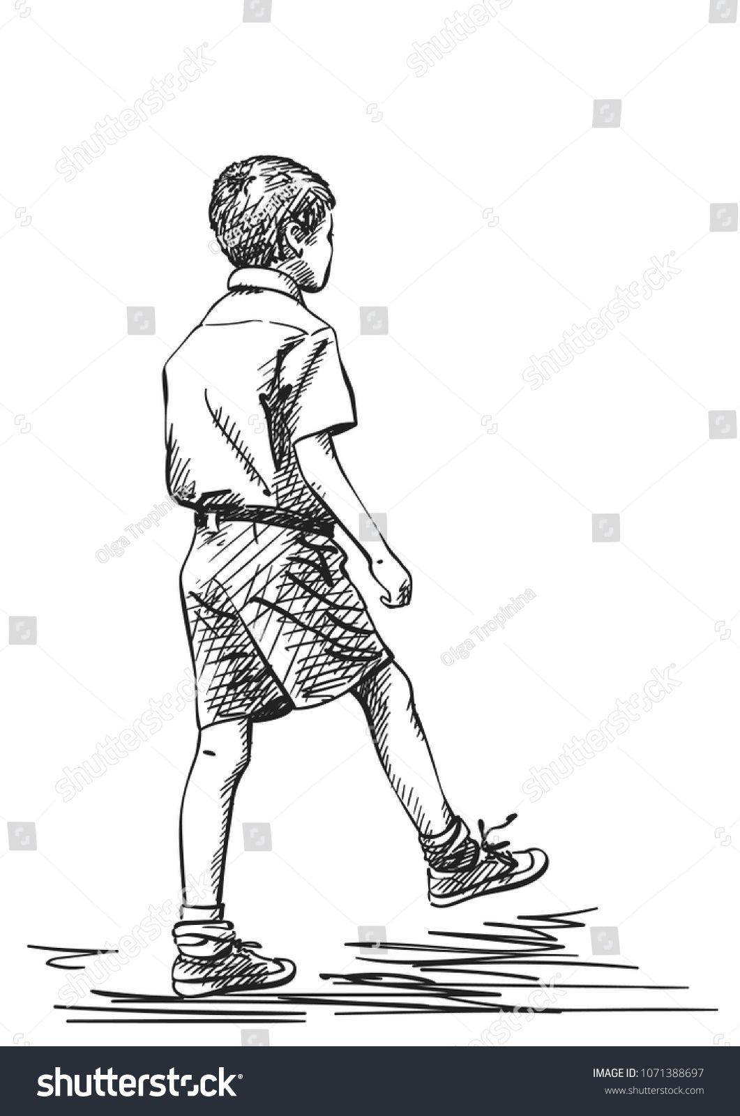 Vector sketch of indian boy in school uniform takes a step