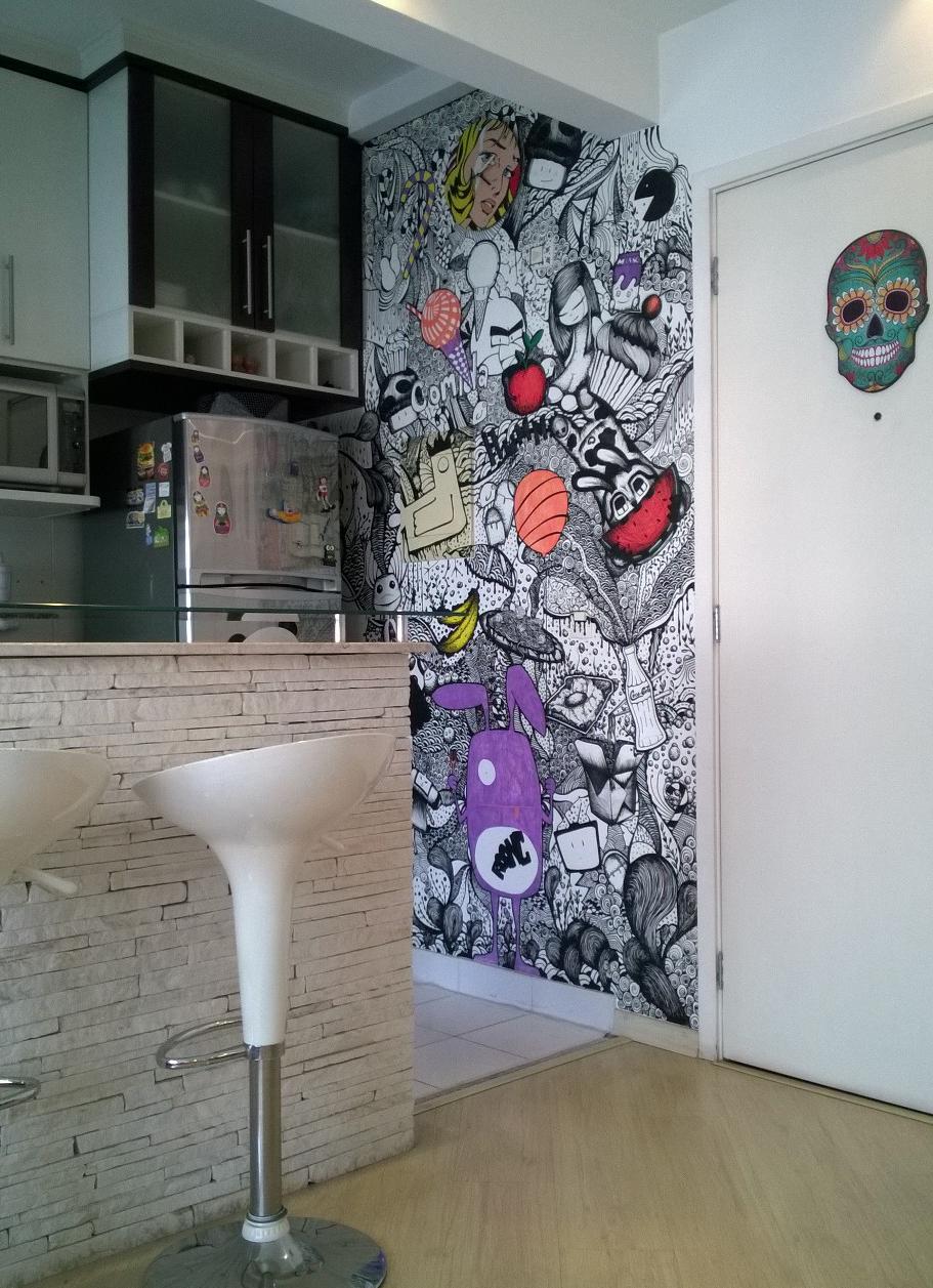 Parede desenhada com posca parede pinterest desenhar for Paredes artisticas