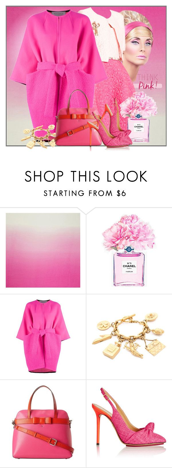 """""""pink coat contest"""" by benzin ❤ liked on Polyvore featuring Oscar de la Renta, Chanel, Gianluca Capannolo, Kate Spade, Charlotte Olympia, women's clothing, women, female, woman and misses"""