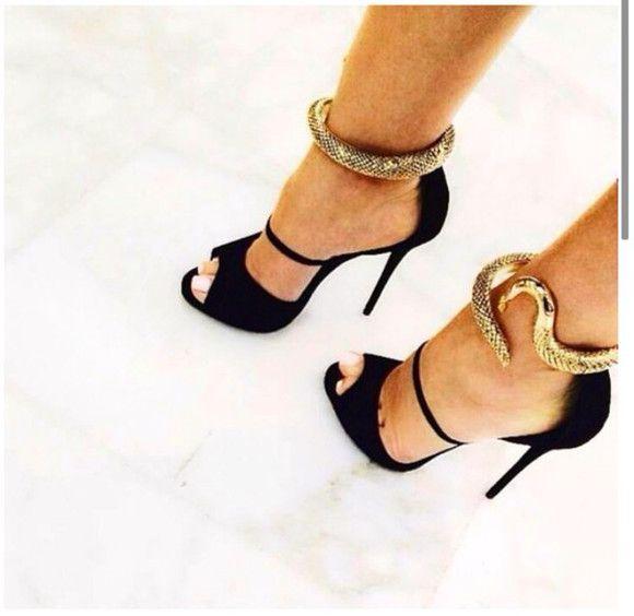 Snake heels, Black high heel sandals, Heels