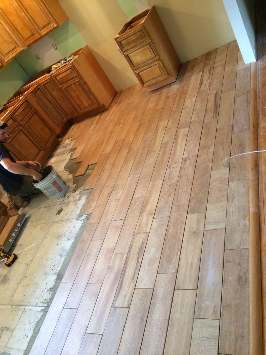 Wood Tile Flooring In Farmhouse Kitchen Remodel Gbi