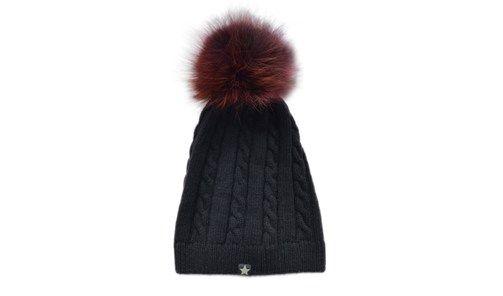 ET-TU knit hut cable hut/fur black