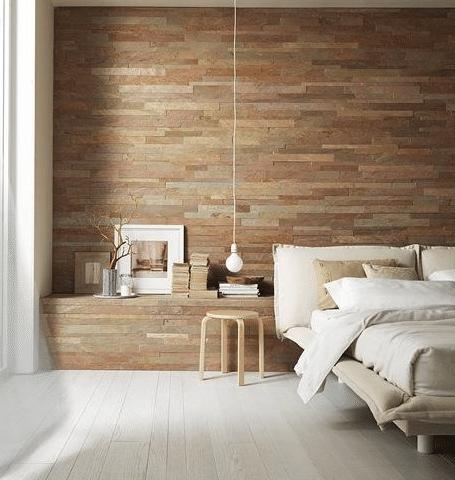 Rough Stone Wall Tiling In Bedroom Tile Bedroom Bedroom Wall Home Bedroom