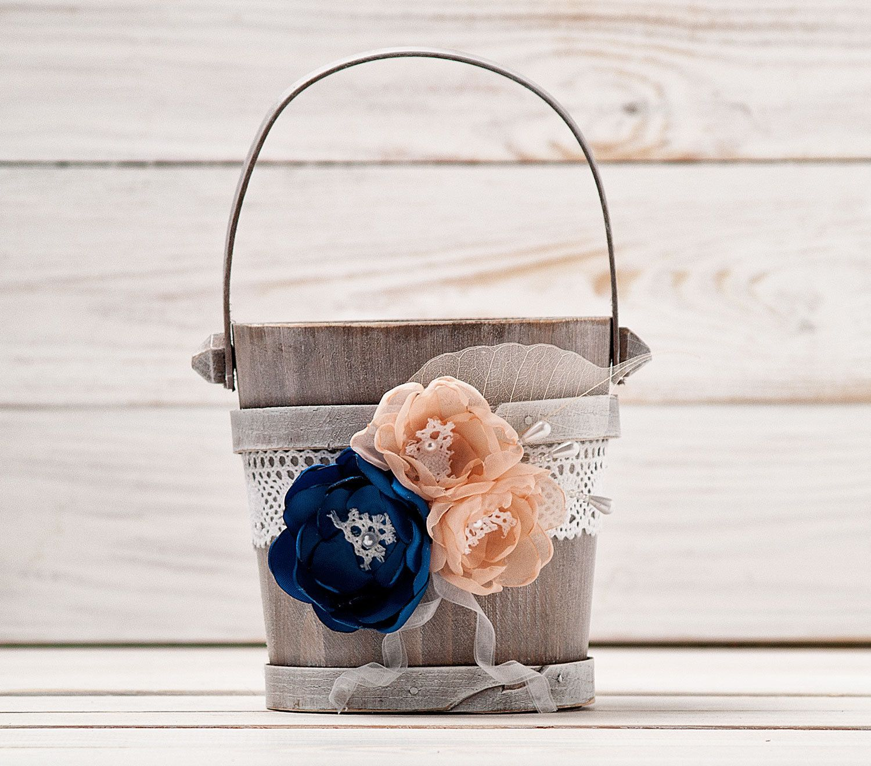 Navy Blue Blush Flower Girl Basket Wedding Basket Wood