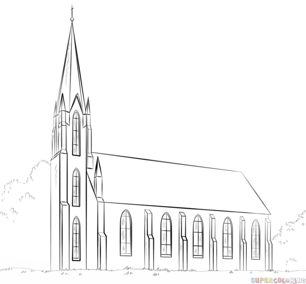 How To Draw A Church Step By Step Drawing Tutorials For Kids And