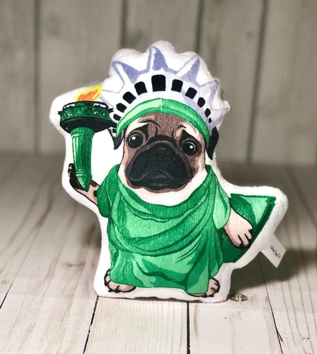 Pug Shaped Plush Pillow   Lady Liberty